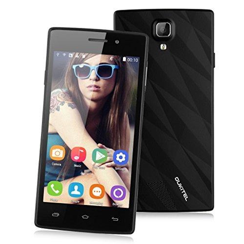 OUKITEL 3G-Smartphone Quad-Core Dual SIM 4.5'' Zoll IPS Screen Android 4.4 WCDMA/GSM Handy ohne Vertrag 4GB ROM Dual Kameras 1.3GHz MTK6582 GPS Schwarz