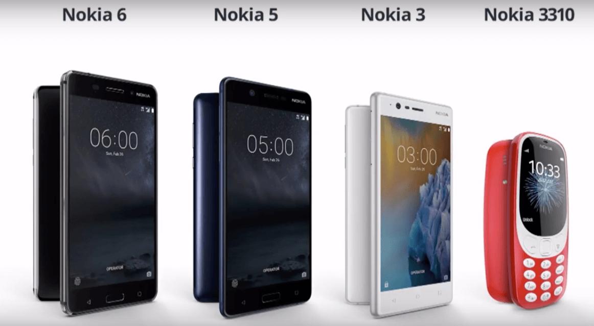 Nokia 3, 5, 6 und 3310, Bild: Nokia